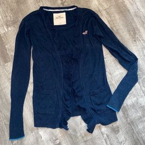 Hollister Ruffle Blue Open Front Cardigan Sweater